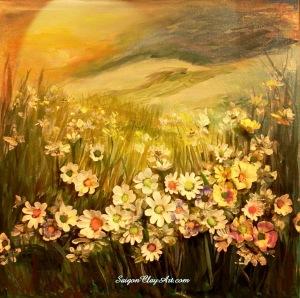cap131_saigonclayart_daisy_flowers_50x50