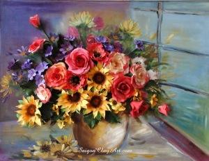 cap137_saigonclayart_sunflower_and_daisy_30x40cm